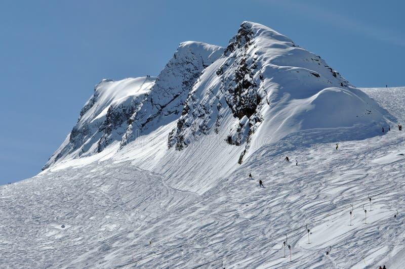 阿尔卑斯奥地利kitzsteinhorn手段滑雪倾斜 库存照片