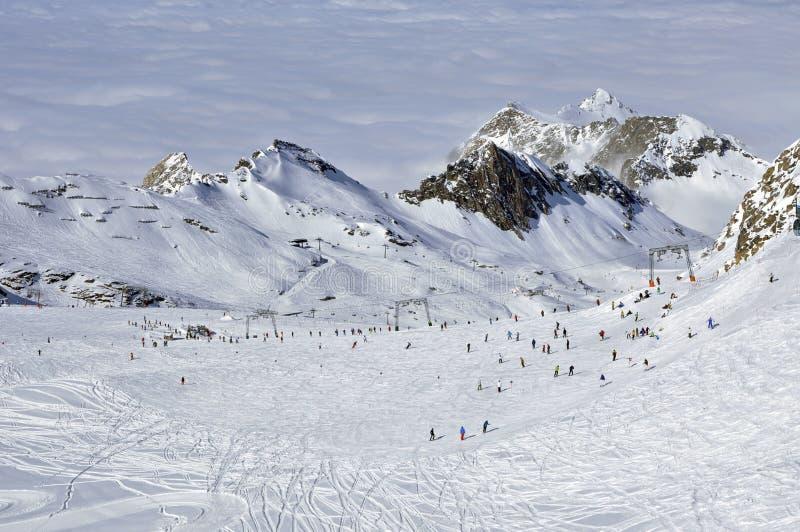 阿尔卑斯奥地利kitzsteinhorn手段滑雪滑雪者 库存图片