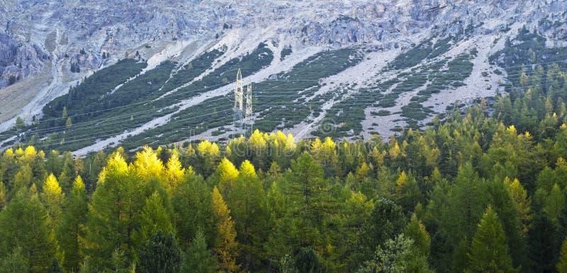 阿尔卑斯山脉电力线 库存照片