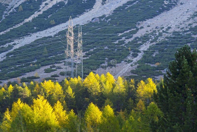 阿尔卑斯山脉电力线 库存图片