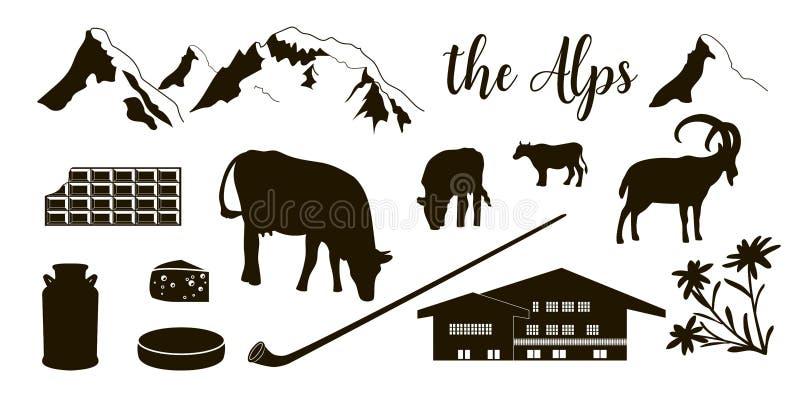 阿尔卑斯平的象 山马塔角,高山高地山羊,瑞士山中的牧人小屋, edelweiss开花, alpenhorn 库存例证