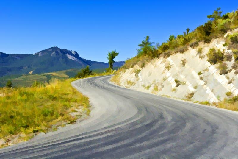 阿尔卑斯法国山口路 库存例证