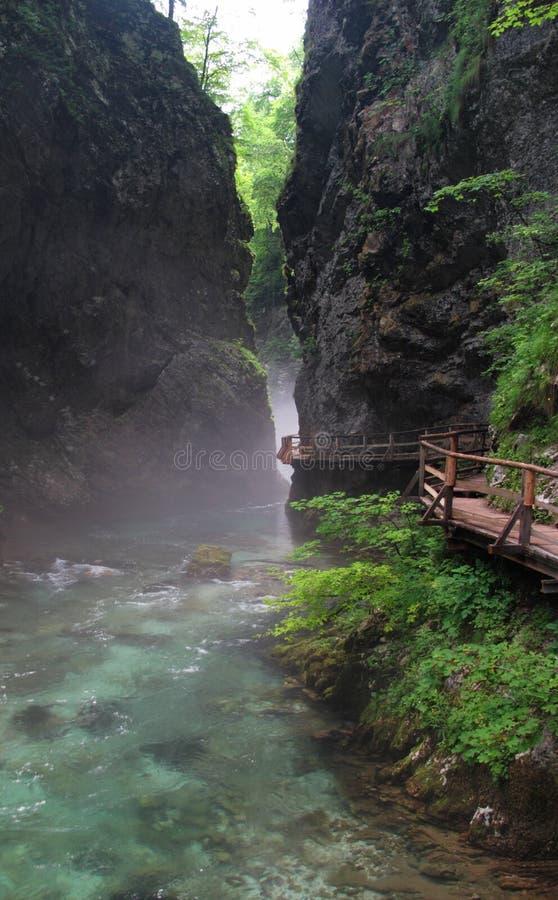阿尔卑斯流血峡谷朱利安最近wintgar 免版税库存照片