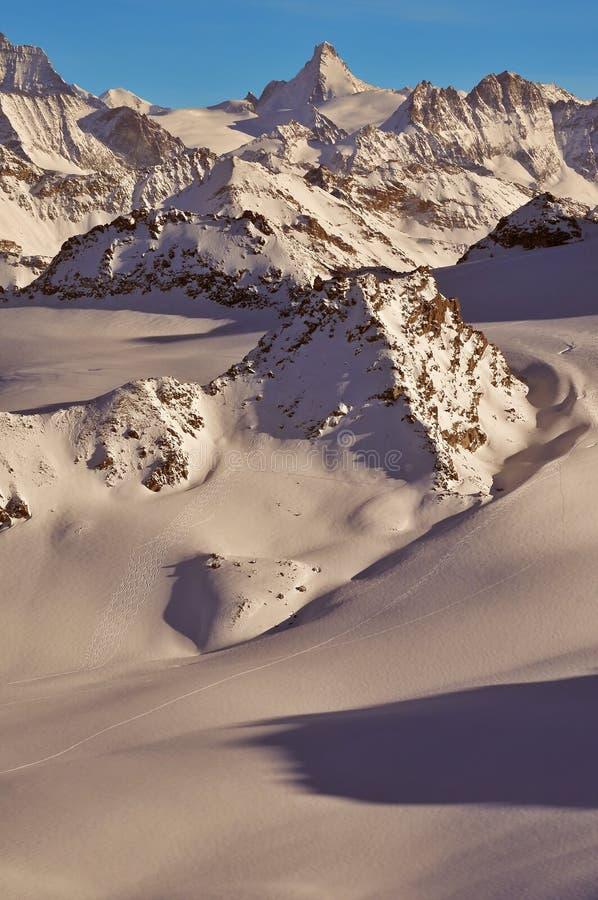阿尔卑斯滑雪的瑞士原野 免版税库存照片