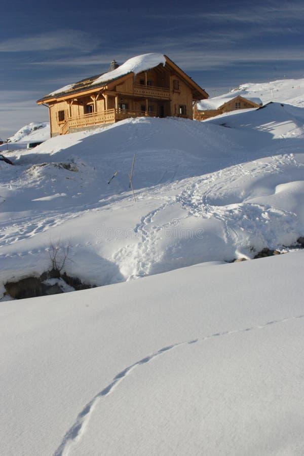 阿尔卑斯瑞士山中的牧人小屋 免版税库存图片