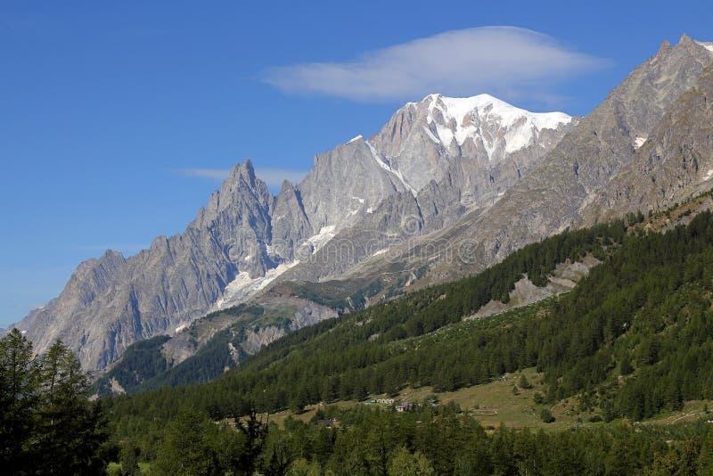 阿尔卑斯blanc意大利断层块mont全景 库存照片