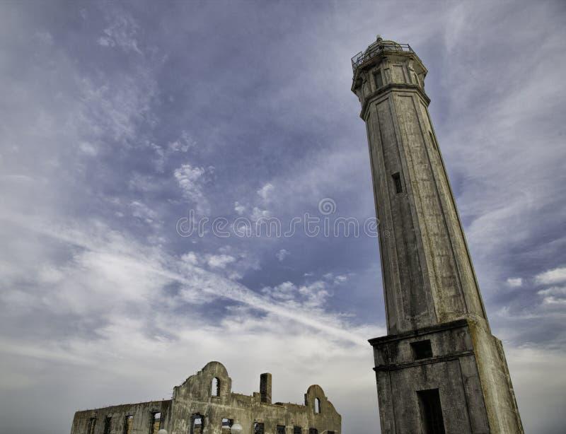 阿尔卡特拉斯岛作为一位孤独的稍兵的灯塔立场 库存图片