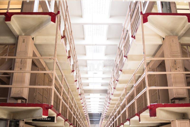 阿尔卡特拉斯岛的监狱分区 图库摄影