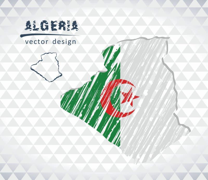 阿尔及利亚与在白色背景隔绝的旗子里面的传染媒介地图 剪影白垩手拉的例证 向量例证