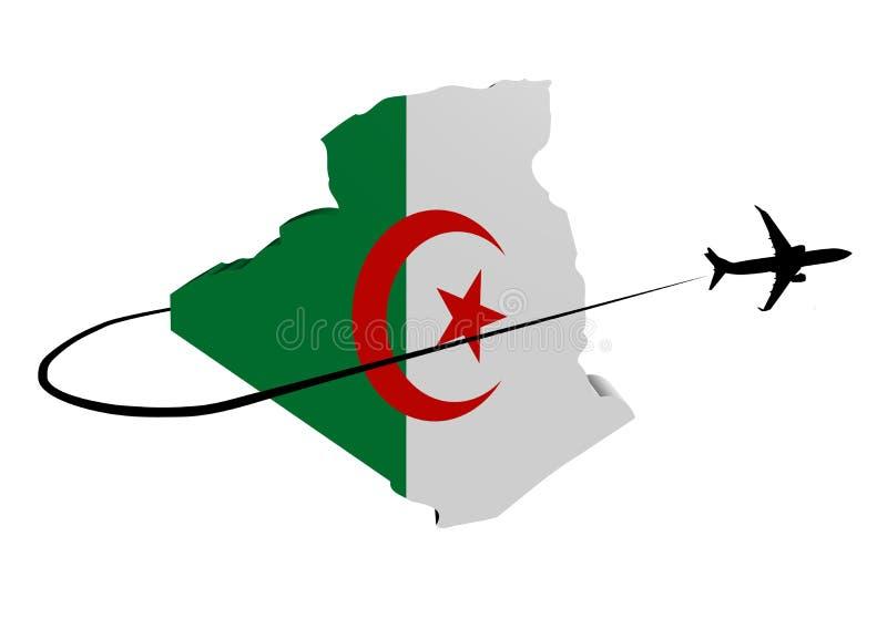 阿尔及利亚与飞机和swoosh 3d例证的地图旗子 向量例证