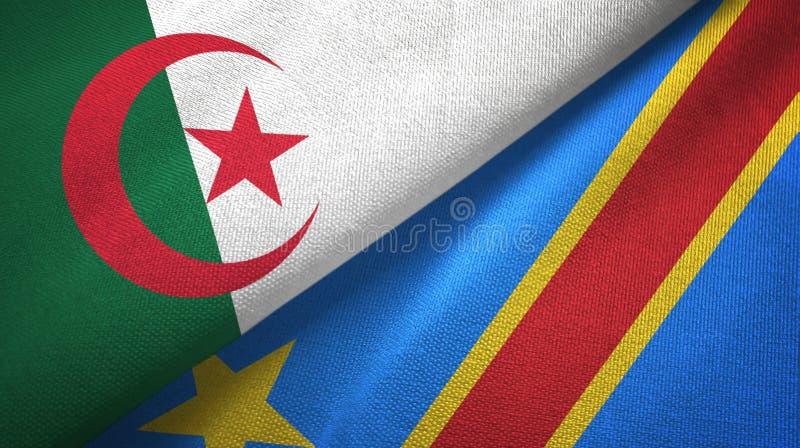 阿尔及利亚和刚果民主共和国两旗子纺织品布料 库存例证