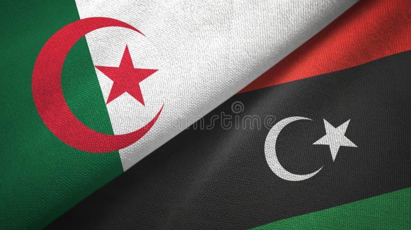阿尔及利亚和利比亚两旗子纺织品布料,织品纹理 库存例证