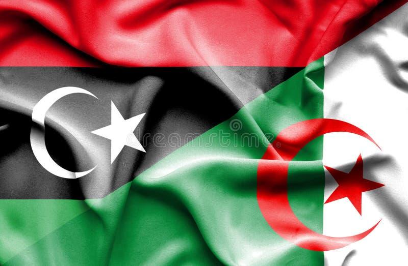 阿尔及利亚和利比亚的挥动的旗子 库存例证