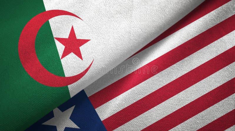 阿尔及利亚和利比里亚两旗子纺织品布料,织品纹理 皇族释放例证