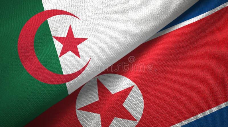 阿尔及利亚和北朝鲜两旗子纺织品布料,织品纹理 库存例证