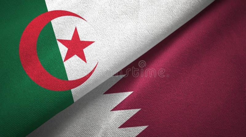 阿尔及利亚和卡塔尔两旗子纺织品布料,织品纹理 向量例证