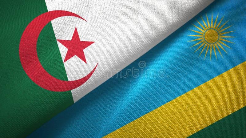 阿尔及利亚和卢旺达两旗子纺织品布料,织品纹理 库存例证