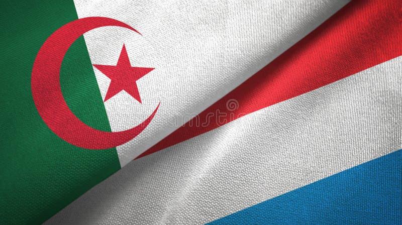阿尔及利亚和卢森堡两旗子纺织品布料,织品纹理 皇族释放例证