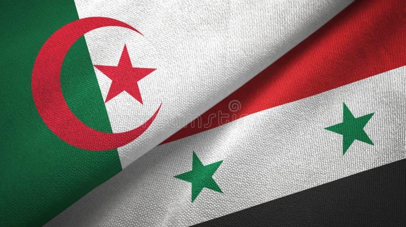 阿尔及利亚和叙利亚两旗子纺织品布料,织品纹理 库存例证