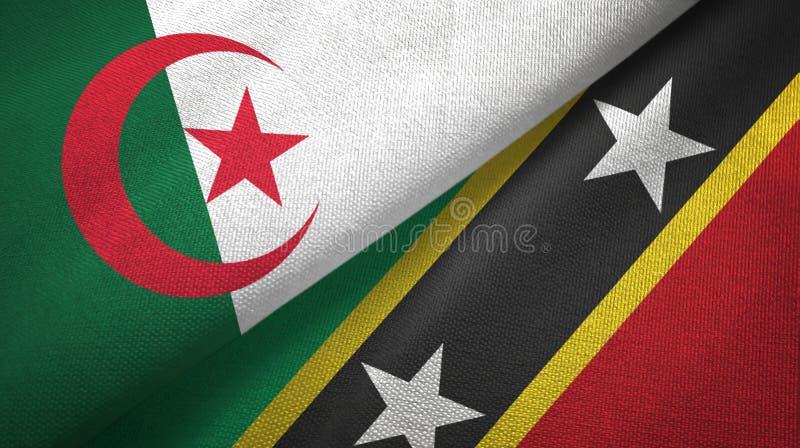 阿尔及利亚和圣克里斯多福与尼维斯两旗子纺织品布料,织品纹理 向量例证