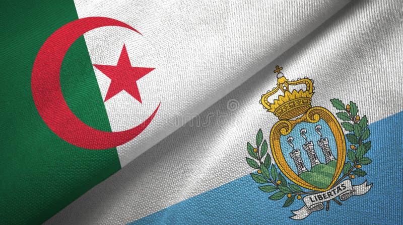 阿尔及利亚和圣马力诺两旗子纺织品布料,织品纹理 库存例证