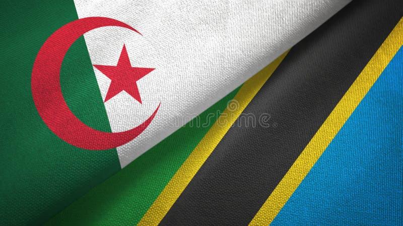阿尔及利亚和坦桑尼亚两旗子纺织品布料,织品纹理 向量例证