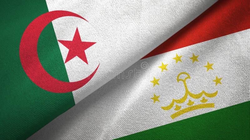 阿尔及利亚和塔吉克斯坦两旗子纺织品布料,织品纹理 皇族释放例证