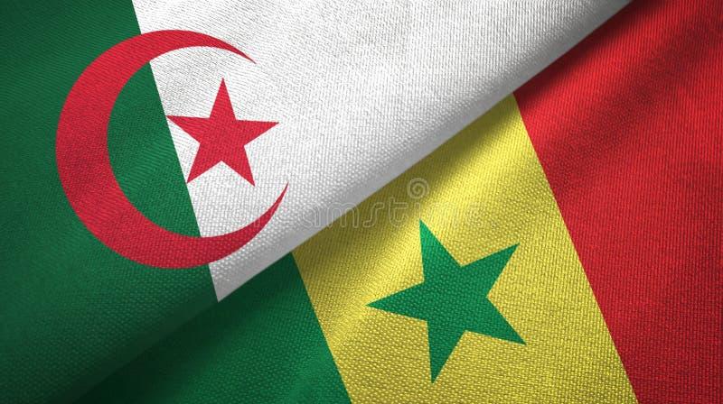 阿尔及利亚和塞内加尔两旗子纺织品布料,织品纹理 库存例证