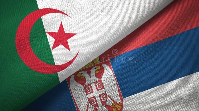 阿尔及利亚和塞尔维亚两旗子纺织品布料,织品纹理 皇族释放例证