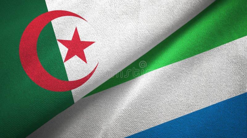 阿尔及利亚和塞拉利昂两旗子纺织品布料,织品纹理 向量例证