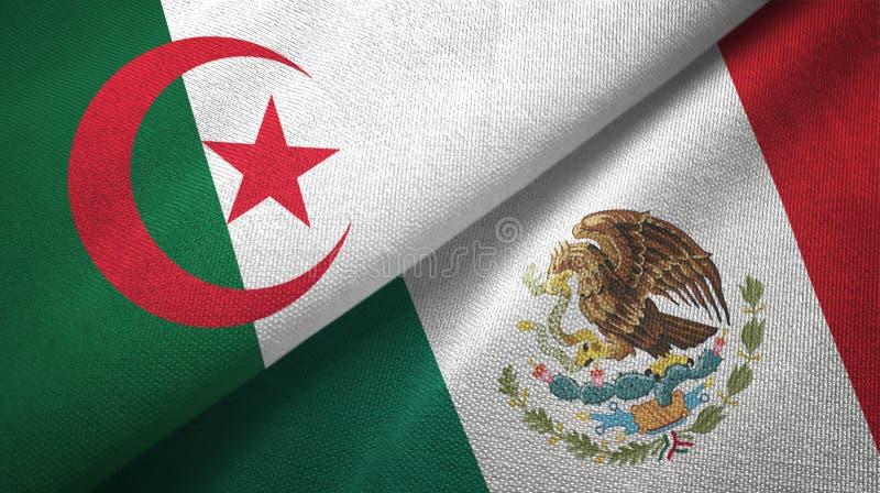 阿尔及利亚和墨西哥两旗子纺织品布料,织品纹理 向量例证