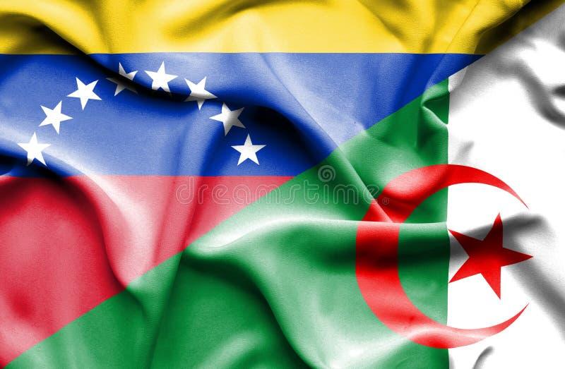 阿尔及利亚和委内瑞拉的挥动的旗子 向量例证