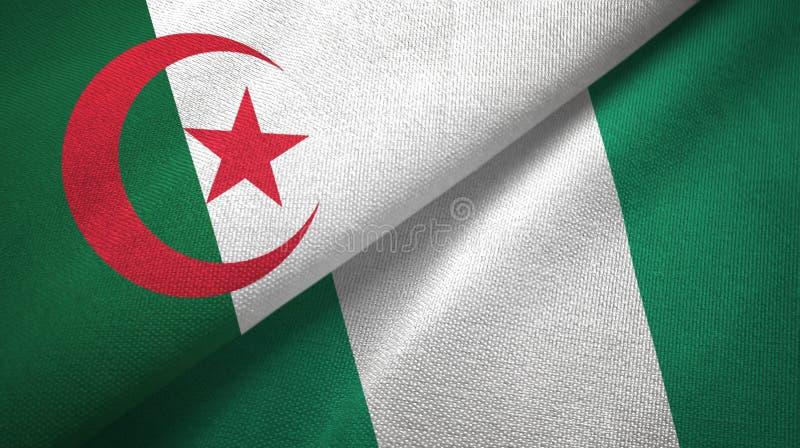 阿尔及利亚和尼日利亚两旗子纺织品布料,织品纹理 向量例证