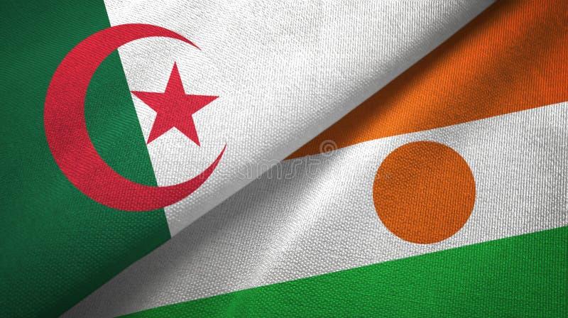 阿尔及利亚和尼日尔两旗子纺织品布料,织品纹理 向量例证