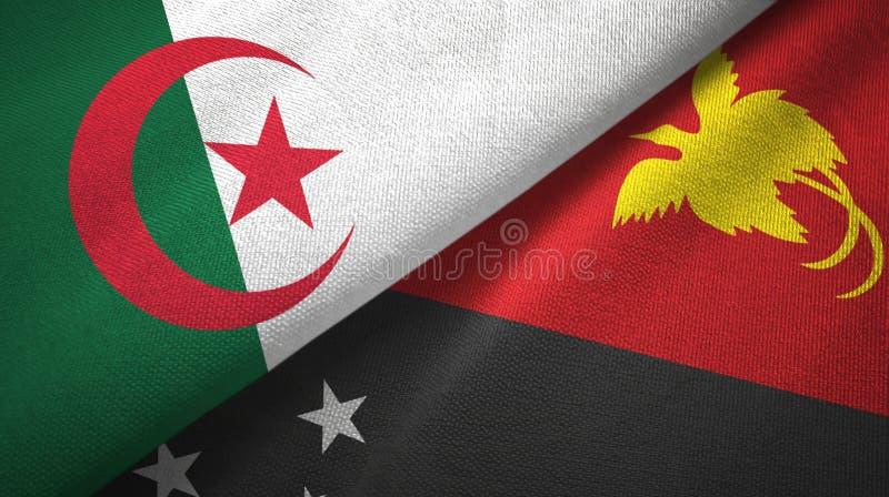 阿尔及利亚和巴布亚新几内亚两旗子纺织品布料,织品纹理 向量例证
