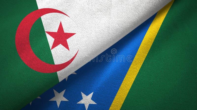 阿尔及利亚和所罗门群岛两旗子纺织品布料,织品纹理 皇族释放例证