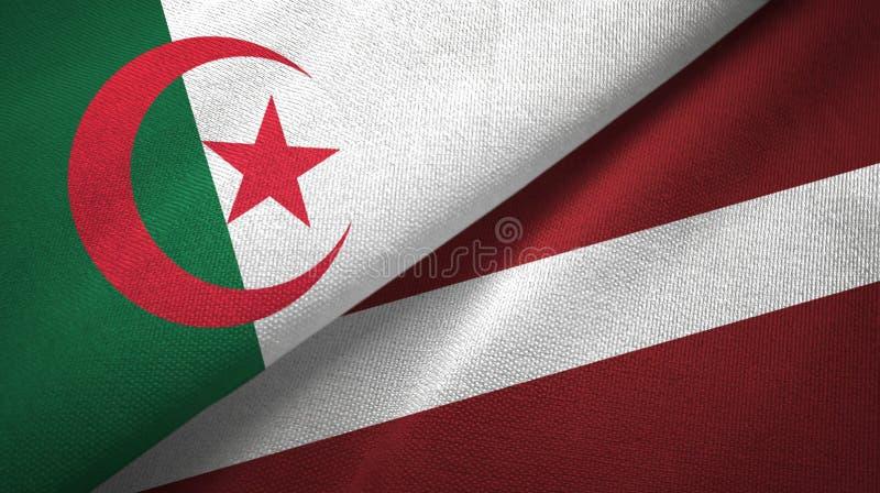 阿尔及利亚和拉脱维亚两旗子纺织品布料,织品纹理 库存例证