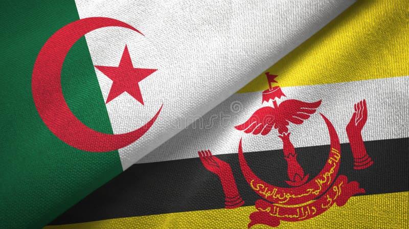 阿尔及利亚和文莱两旗子纺织品布料 皇族释放例证