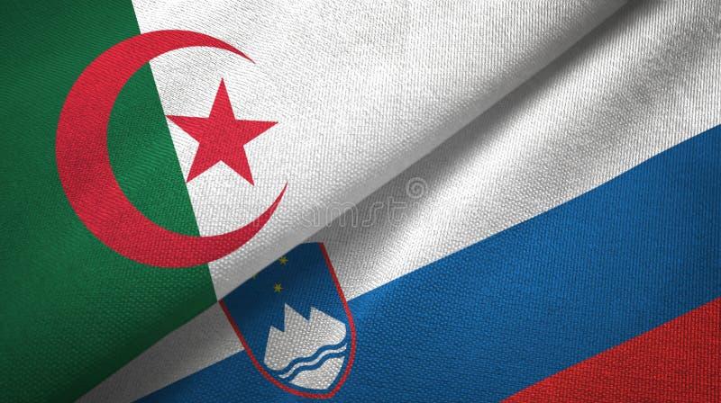 阿尔及利亚和斯洛文尼亚两旗子纺织品布料,织品纹理 皇族释放例证