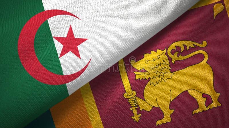 阿尔及利亚和斯里兰卡两旗子纺织品布料,织品纹理 向量例证
