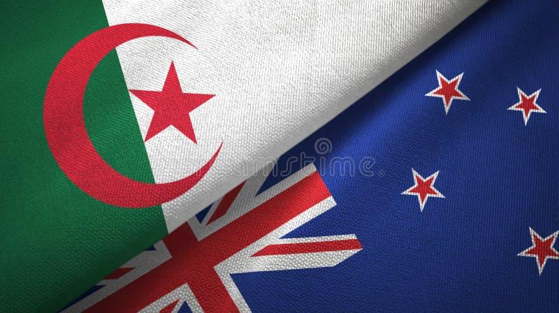 阿尔及利亚和新西兰两旗子纺织品布料,织品纹理 皇族释放例证