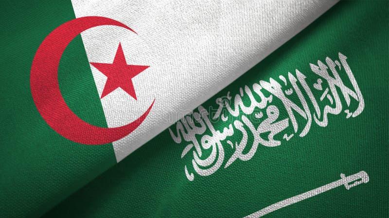 阿尔及利亚和沙特阿拉伯旗子纺织品布料 库存例证
