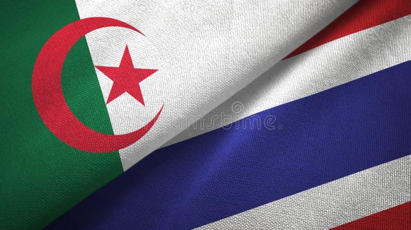阿尔及利亚和泰国两旗子纺织品布料,织品纹理 皇族释放例证