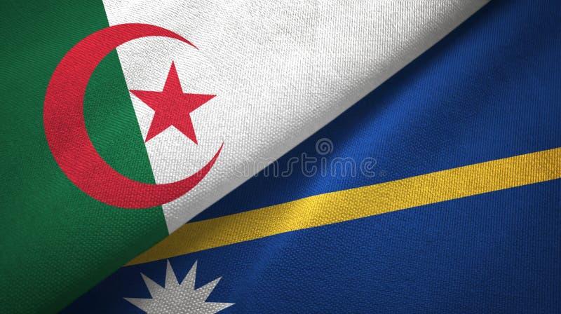 阿尔及利亚和瑙鲁两旗子纺织品布料,织品纹理 皇族释放例证