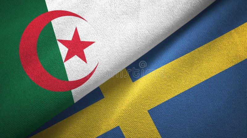 阿尔及利亚和瑞典两旗子纺织品布料,织品纹理 皇族释放例证