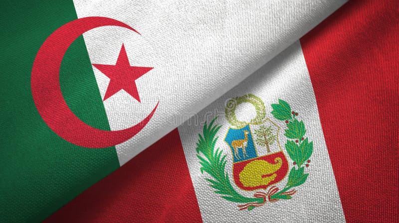 阿尔及利亚和秘鲁两旗子纺织品布料,织品纹理 库存例证