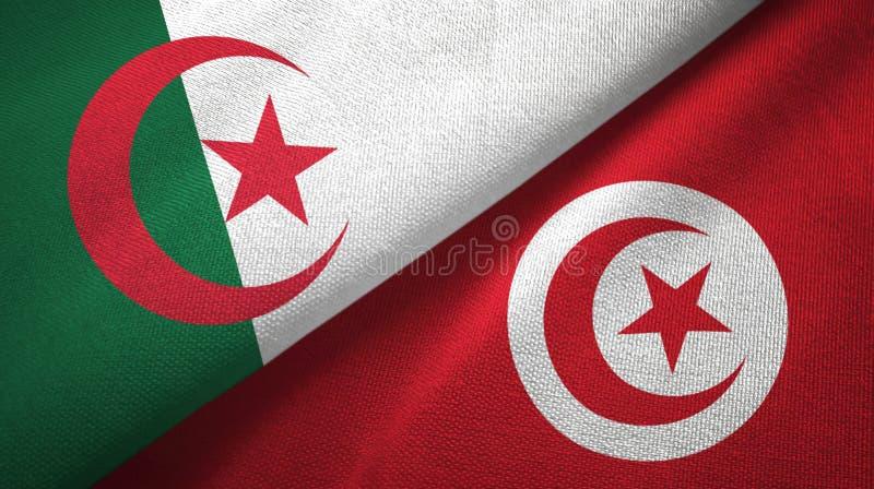 阿尔及利亚和突尼斯两旗子纺织品布料,织品纹理 库存例证