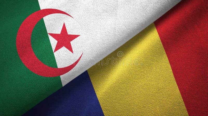 阿尔及利亚和罗马尼亚两旗子纺织品布料,织品纹理 皇族释放例证