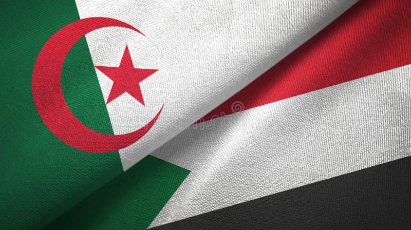 阿尔及利亚和苏丹两旗子纺织品布料,织品纹理 皇族释放例证