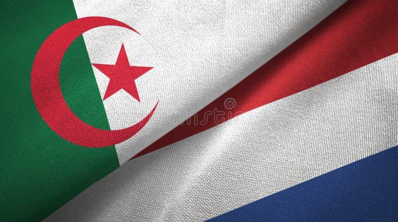 阿尔及利亚和荷兰两旗子纺织品布料,织品纹理 向量例证